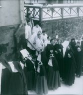 Procession at St. Erik's Church on the occasion of Bishop John Erik Müller's silver jubilee as a bishop in the Catholic Church in Sweden. - 12 January 1948