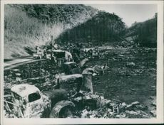 German army vehicle in ruins after allied air attack 1945.