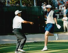Golf player Helen Alfredsson and her partner Robert Gamez are excited to finish second place in JC Penny Classic 1995