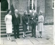 In the gardens of the Duchess of Kent's London home at Kensington Palace, are seen: Left to right: - the Duchess of Kent: the father and mother of Katherine, Sir William and Lady William Worsley: the Duke of Kent and his fiancee, Katherine Worsley.  - Apr