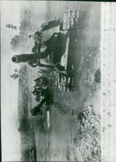 Russian armored vehicles form a watercourse on the front of Latvia - 12 August 1944