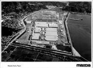 Aerial view of Mazda's manufacturing plant.