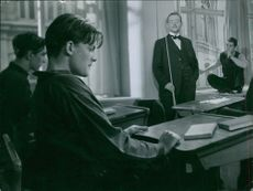 Stig Järrel in a scene from the film Hets (Torment), directed by Alf Sjöberg, with screenplay by Ingmar Bergman, 1944.