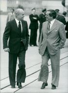 West German Finance Minister Hans Matthöfer and Denis Healey at Bonns Airport