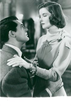 "Katharine Hepburn along with Cary Grant in the movie ""A Freer in Society""."