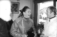 Wife of Yul Brynner laughing.