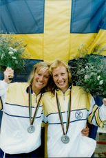 OS 1992 in Barcelona. Canoe: Agneta Andersson and Susanne Gunnarsson paddled in second place
