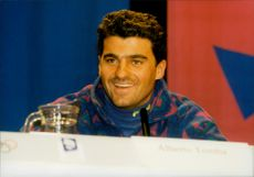 Portrait of the skier Alberto Tomba