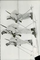 Norwegian soldiers using ice ski during their support to Finland in the Winter War. 1939-40