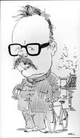 Caricature of the author Jan Myrdal