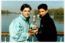 Oxford's Andrew Bracey and Neil Chugani with the Boat Race trophy
