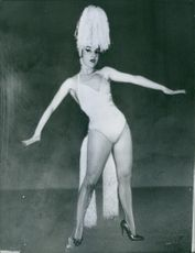 Nelly Galvan in a costume posing. Photo taken on March 6, 1961.
