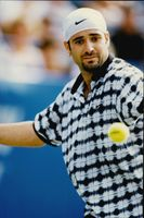 Andre Agassi competes during the US Tennis Open.