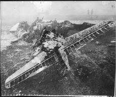 The debris after the London crashed private plane