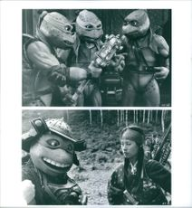 "Leonardo, Michelangelo, Donatello, Raphael and Vivian Wu in the scenes of the movie, ""Teenage Mutant Ninja Turtles III""."