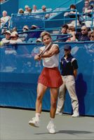 Chris Evert in action during the US Open 1989