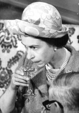 Princess Anne having drink.