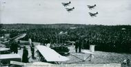 Much human masses viewed the performance of the pilots during the flight day at Örebro Airfield - 14 May 1939