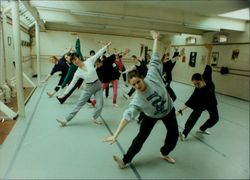Northern Ballet Theatre dancer Suzanne Whitworth takes the dance workshop at Orford Yard Studio in Norwich.