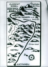 An portrait of an illustration of the map of the Himalayas. 1959.