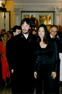 Actor Keanu Reeves with his wife at the San Sebastian Film Festival in 1995