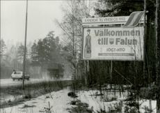 Welcome sign at the entrance to Falun, candidate for the Winter Olympics in 1992