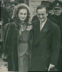 The wedding between David Niven and Hjördis Tersmeden. The bridesmaid photographed immediately after the wedding - 14 January 1948