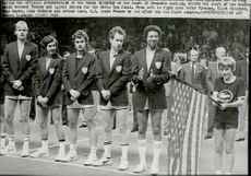 USA's tennis team on the plan of Grenoble Stadium at the official presentation of the Law in the Davis Cup 1982