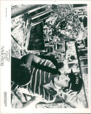 """Joey Cramer as David with a robot in a scene of film """"Flight of the Navigator"""""""