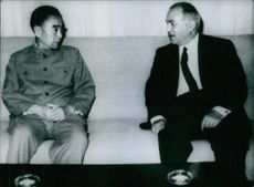A photo of Chou En-Lai & Aly Sabry together having a meeting in 1965.
