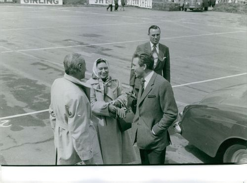 Princess Margaret and Earl of Snowden with people, Silverstone 1963.