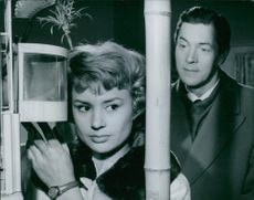 """Harriet Andersson and Karl-Arne Holmsten in the scene from the 1959 movie, """"Crime in Paradise""""."""