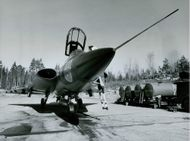 Front view Swedish fighter aircraft Saab 35 Draken