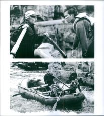 Different scenes from the film The River Wild with Meryl Streep as Gail, Kevin Bacon as Wade, Joseph Mazzello as Roarke and John C. Reilly as Terry, 1994.