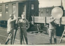 Austrian surveyors surveying at the railway station using air current and a balloon.  - Apr 1915
