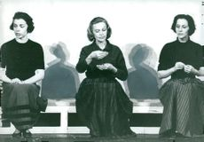 "Jane Friedmann, Inga Tidblad and Marianne Aminoff repeat a scene from ""Three Knives from Wei"""