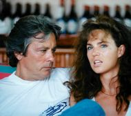 Actor Alain Delon with girlfriend Rosalie van Breemen in Saint-Tropez