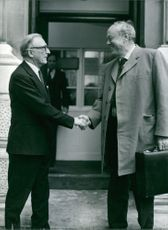 Lord Carrington Secretary of State for Foreign and Commonwealth Affairs shakes hands with Lord Soames, Governor of Rhodesia, Foreign Office London.