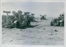 Northern Africa - English-powered guns destroyed by Italian bombers.
