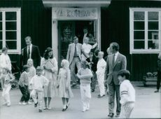 Queen Silvia, Crown Princess Victoria and King Carl XVI Gustaf with Prince Carl Philip on his first school day