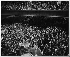 """Robert Francis """"Bobby"""" Kennedy`s supporter gathered inside a hall."""