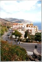 Rear view of taormina, the famous resort on east coast of sicily.