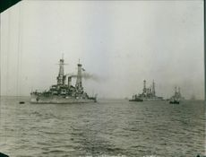 Ships moving on the sea.1935
