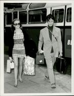 Actress Hayley Mills and film director Roy Boulting arrive at Heathrow Airport for departure to Nice