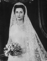 Photo of Princess Alexandra on her wedding gown.
