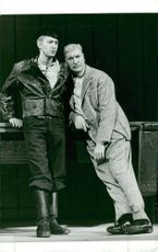 """Thommy Berggren and Sigge Fürst in """"Mr. Puntila and his boy Matti"""" on the dramatic stage of drama"""