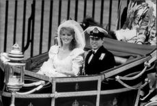 Prince Andrew and Sarah Ferguson wagon after their wedding