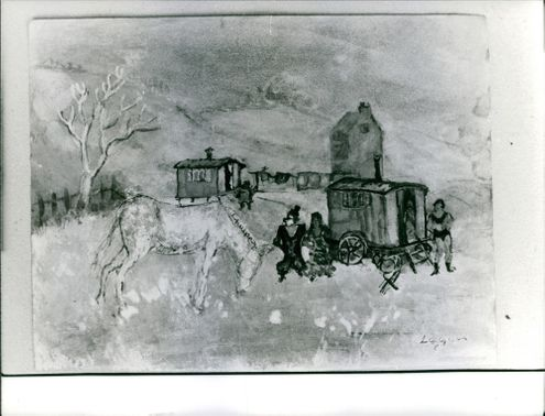 Vintage photo of a village scene painting by Logan. Photo taken on June 19, 1962.