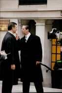 """Actors Vito Ringinis and Keanu Reeves under the recordings of """"Devil's Lawyer"""""""