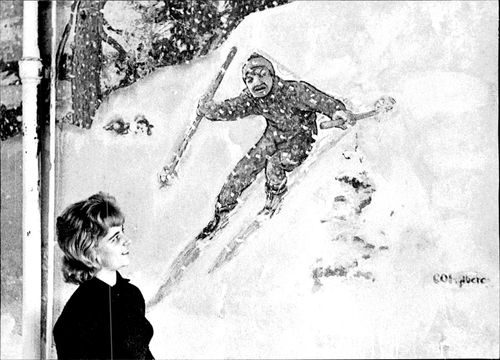 A collection of murals by Carl Kylberg was washed out on the walls of a former beer hall and free church hall in Skara. Here is a skier runner of a skare girl.
